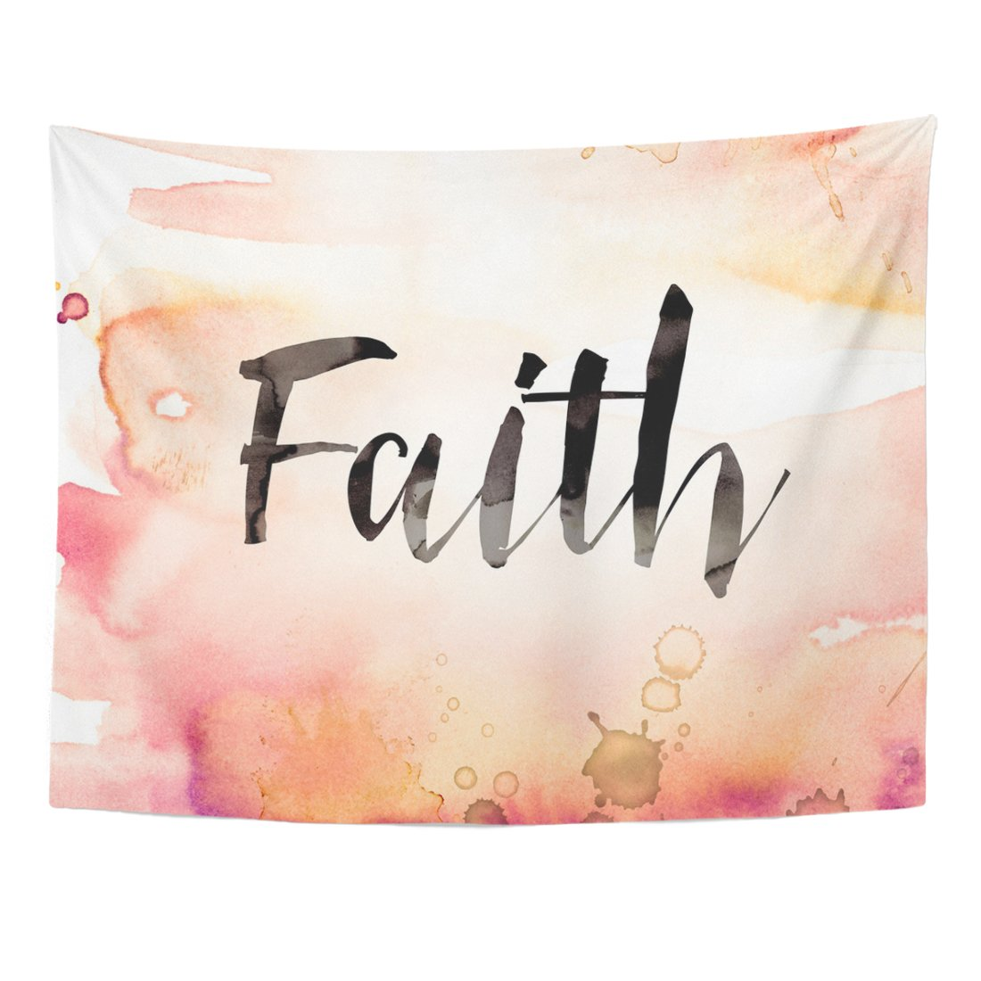 TOMPOP Tapestry Christian the Word Faith Written in Watercolor Washes and Paint Drips God Christ Home Decor Wall Hanging for Living Room Bedroom Dorm 60x80 Inches