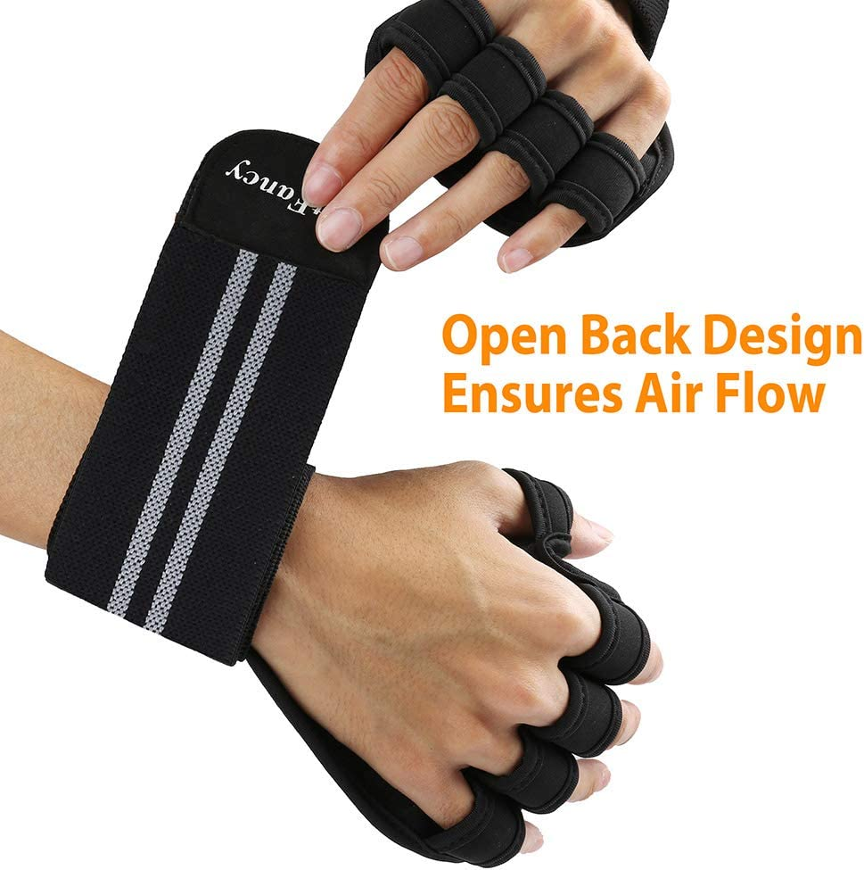 Full Palm Protection LotFancy Workout Gloves for Men and Women with Wrist Support Anti-Slip Gym Gloves for Crossfit, Pull Ups Powerlifting Ventilated Weightlifting Gloves