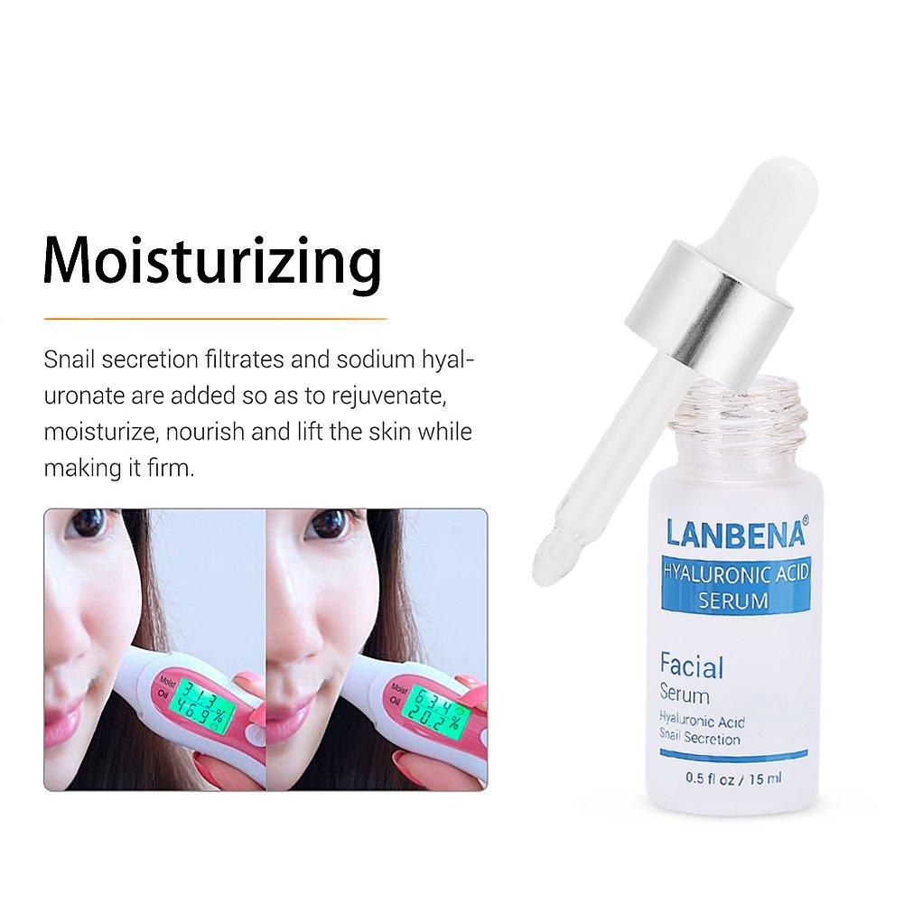 Serum Facial de ácido hialurónico secreción hidratante de caracol puro antienvejecimiento aceite de control de aceite esencia para cara: Amazon.es: Hogar