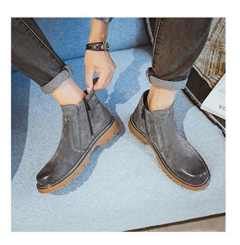 Uomini Scarpe grigio Alta Hl Libero Testa pyl Zipper Piedi Rotonda europei Calzatura E Stivali 44 In Americani Tempo Pelle rY0rU