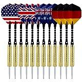 Sametop Darts Steel Tip Darts Set 18 Grams with Flights, Aluminum Shafts, Brass Barrels and Dart Sharpener (12 Packs, 15 Packs)