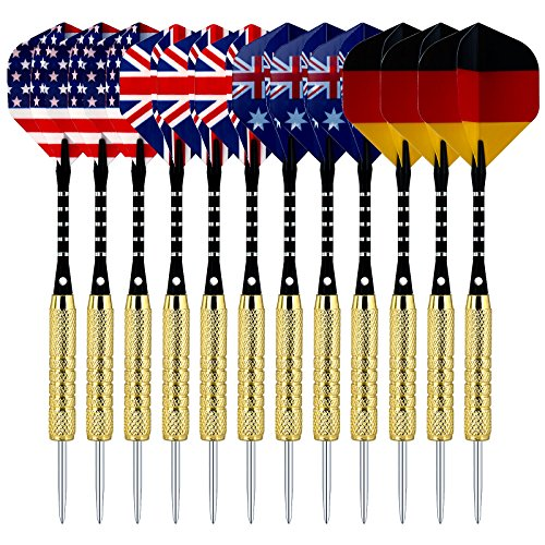 Dart Board Package - Sametop 12 Packs Steel Tip Darts Set 18 Grams with Flights, Aluminum Shafts, Brass Barrels and Dart Sharpener