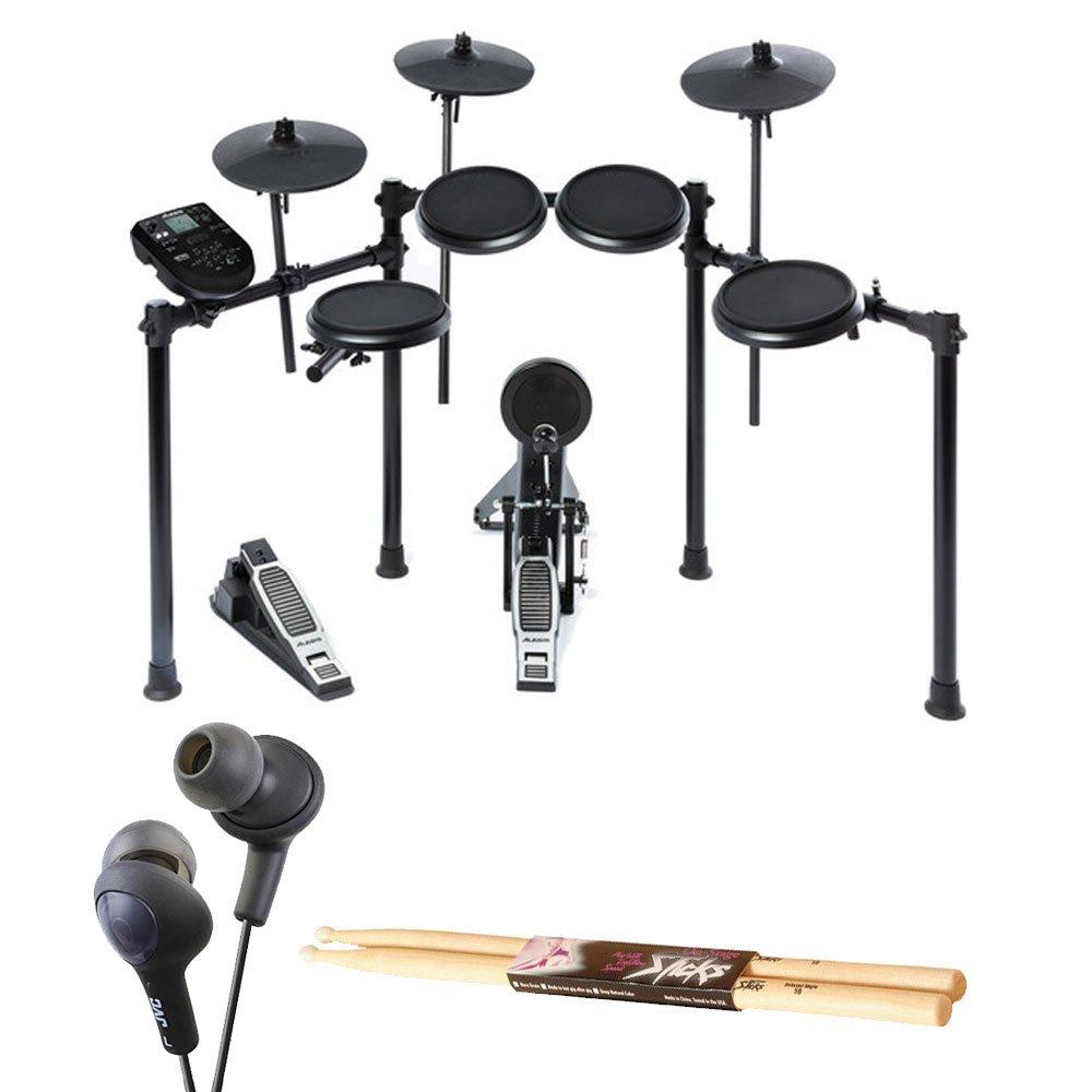 Alesis Nitro Drum Kit, 8-Piece Electronic Kit with Drum Module + On Stage Maple Wood 5B (1 Pair) Of Drumsticks + JVC HAFX5B Gumy Plus Inner Ear Headphones (Black) – Top Accessory Bundle