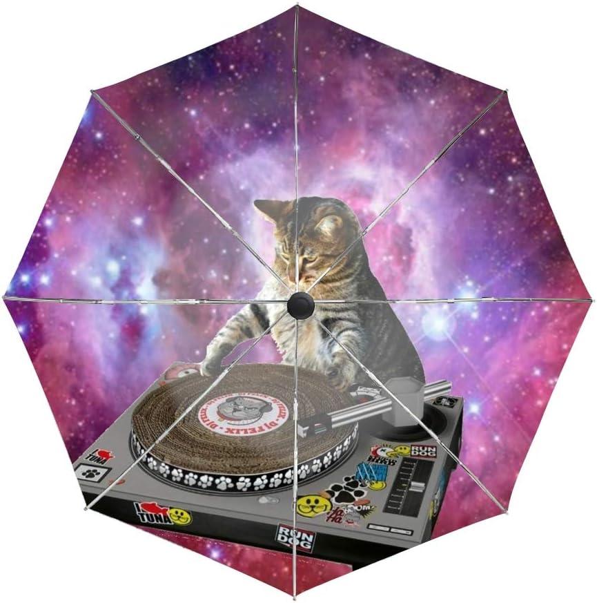 Cats In Space Travel Umbrella Automatic Folding Umbrella Auto Open Close Compact 46 Inch Rain Umbrella for Men Women