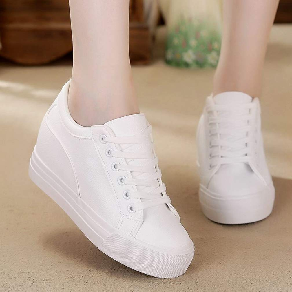 Hoxekle Women Breathable Sneakers Increased Platform Shoes Casual Footwear Leisure Faux Leather White Shoes