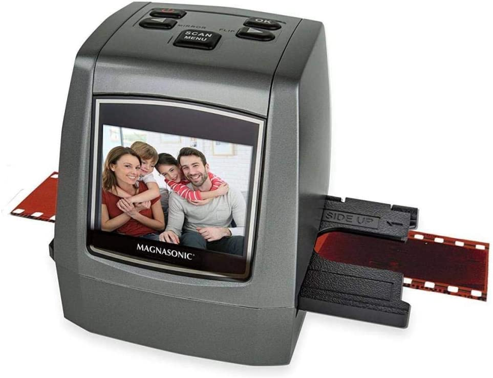"Magnasonic All-in-One High Resolution 22MP Film Scanner, Converts 35mm/126KPK/110/Super 8 Films, Slides, Negatives into Digital Photos, Vibrant 2.4"" LCD Screen, Impressive 128MB Built-in Memory: Office Products"