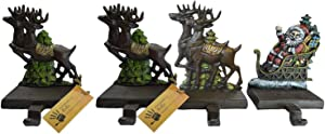 """Lulu Decor, Cast Iron Santa Claus & 3 Reindeer Stocking Holders, Solid, Beautiful, Available in Holiday Colors, Measures 7.75""""x5.5"""", Set of 4, Perfect for Holiday (4 Hooks)"""