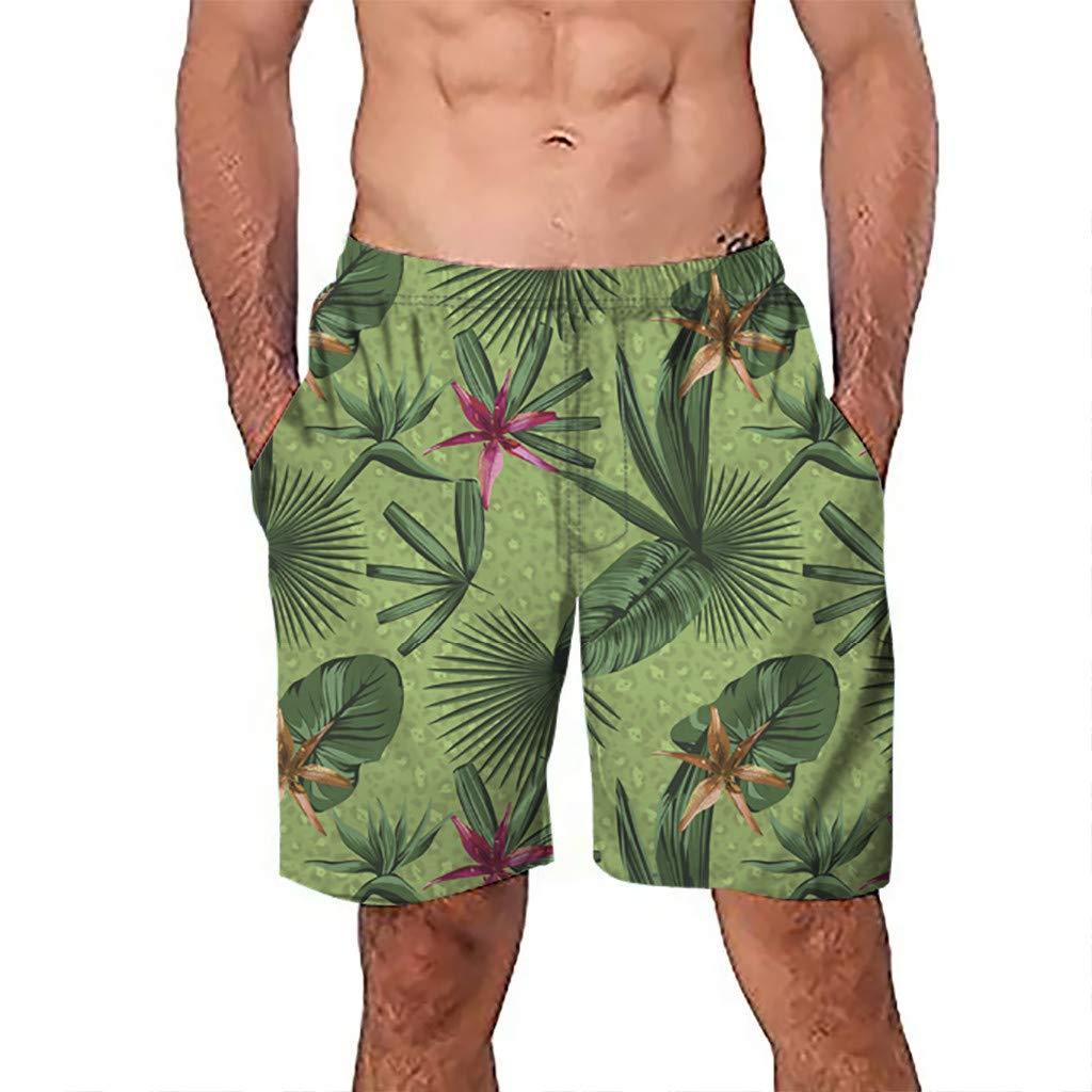 NUWFOR Men Casual 3D Graffiti Printed Beach Work Casual Men Short Trouser Shorts Pants(Green,US S Waist:26.0-29.9'')