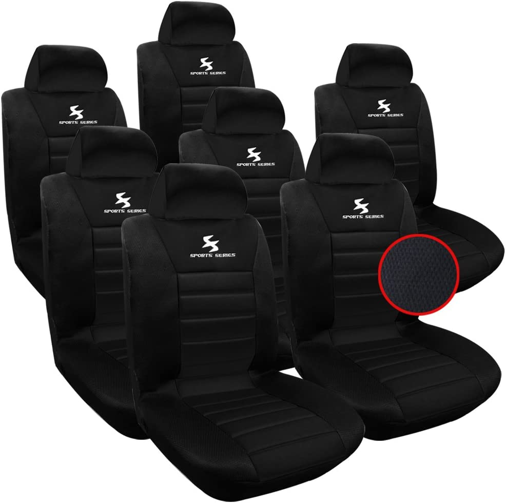WOLTU 7X Fundas de Asiento para Coche Universal Delantero y Traseros Cubierta para Asiento Automóvil sin Bolsa de Aire 100% Poliéster Negro AS7755-7