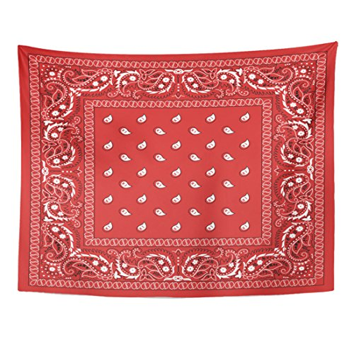 - Emvency Tapestry Red Pattern Classic Paisley Bandana Colorful Scarf Border Black Home Decor Wall Hanging for Living Room Bedroom Dorm 60x80 Inches