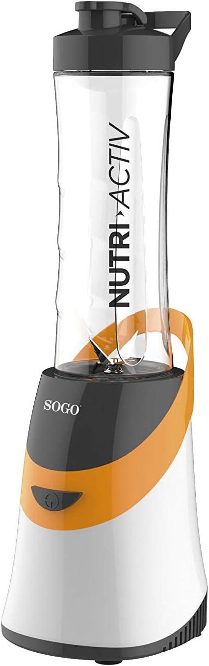 SOGO SS-5515-O Máquina de Hacer Batidos Nutri Activ 350W. Incluye Jarra portátil, Libre de BPA de 0.6L. Batidora de Smoothies Color: Naranja: Amazon.es