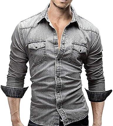 Elodiey Camisas De Hombre Camisa De Mezclilla Retro Camisas Vaquero De Blusa De Mezclil: Amazon.es: Ropa y accesorios