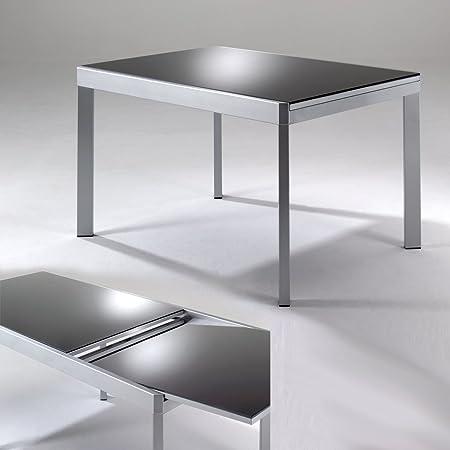 Mesa de comedor Marcy con repisa de cristal gris mesa extensible ...