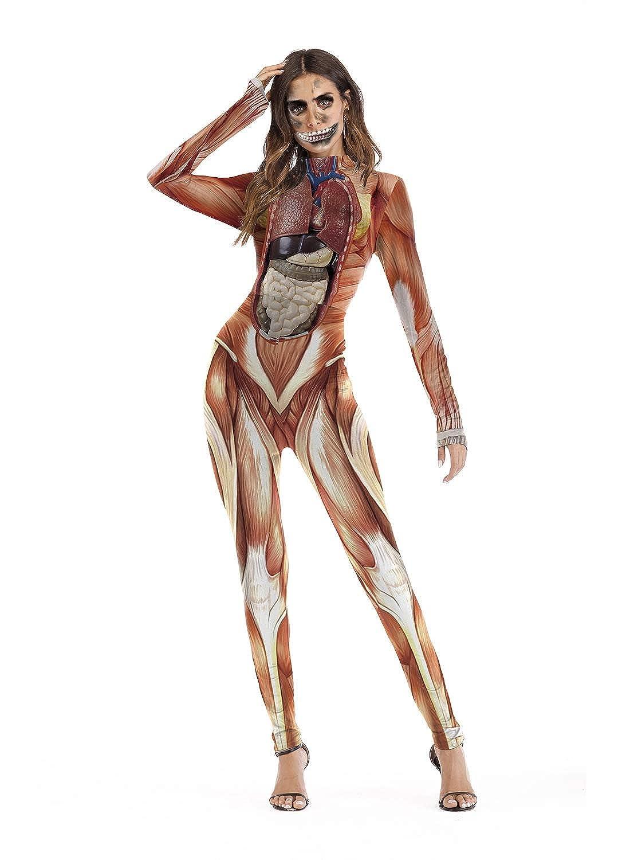 BLAU GRUN Women's Halloween Catsuit,Skeleton Skull Costume Bodysuit Cosplay Long Sleeve Jumpsuit Romper QW-JS-006