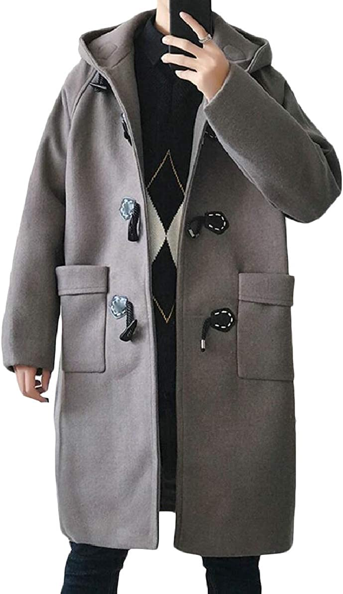 ONTBYB Mens Stylish Jackets with Hood Single Breasted Overcoat Wool Blend Trench Coat