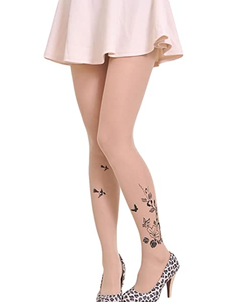 879c102e9d3 Qingsun the New Stamp Tattoo Stockings Pantyhose (Flower of ...