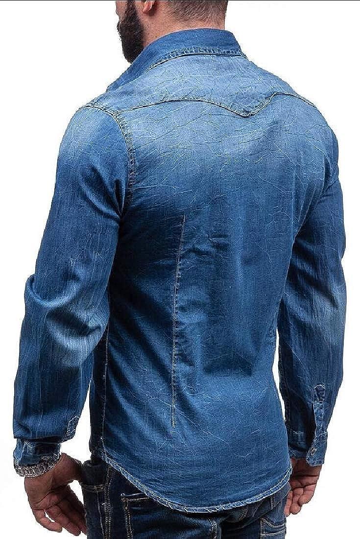 Generic Mens Long Sleeve Lightweight Denim Dress Shirt Button Down Dress Shirts