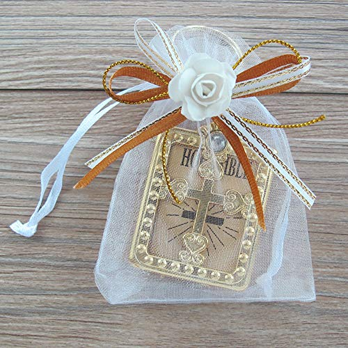 12 PCS First Holy Communion Party Favor Bible Key Chain with Decorated Gift Bags for Boy Girl]()