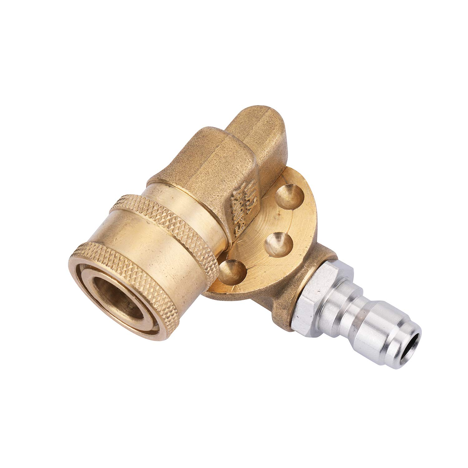Challco Quick Connecting Pivoting Coupler 180 Degree with 5 Angles for Pressure Washer Spray Nozzle, Cleaning Hard to Reach Area Max 4500 PSI 1/4 Inch Plug