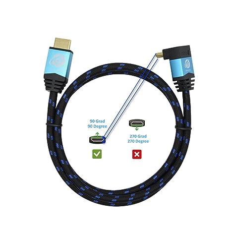Ultra HDTV Premium 4K HDMI Kabel 1m mit 1x 90°-Winkel/HDMI 2.0b, 4K bei vollen 60Hz (Keine Ruckler), HDR, 3D