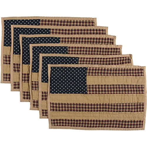 VHC Brands Americana Primitive Tabletop & Kitchen - Patriotic Patch Red Quilted Placemat Set of 6, 12