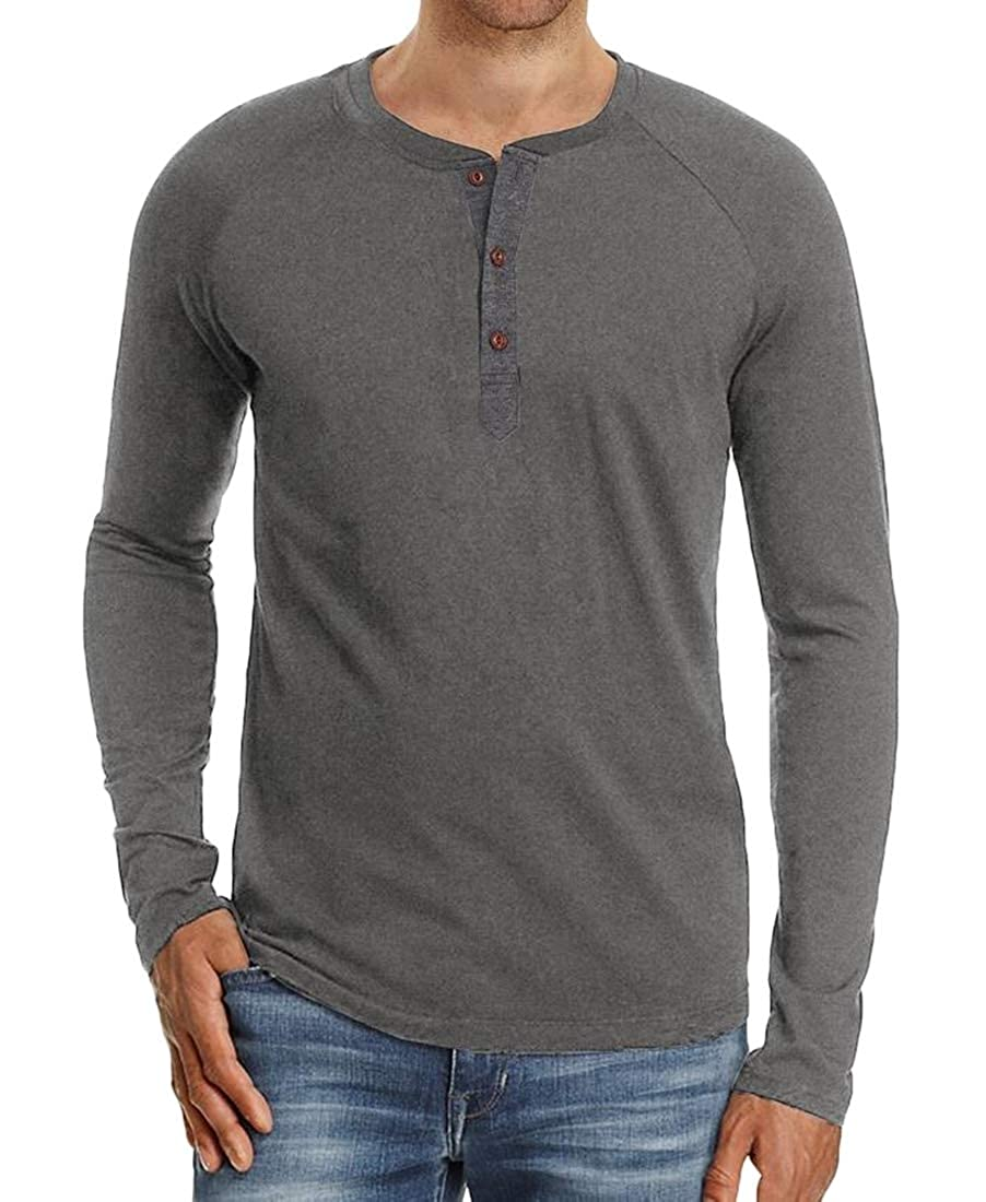 ARTFFEL Mens Long Sleeve Solid Crew Neck Slim Fit Cotton Henley Shirts