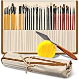 Professional Paint Brush Set of 36 – Bonus FREE Painting Knife & Watercolor Sponge – Bristles and Wooden Handles – For Face, Body Paint, Acrylics, Oils – Best Gift for Artists