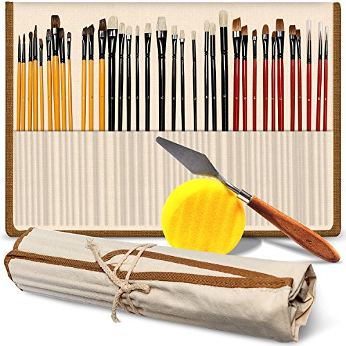 Professional Paint Brush Set of 36 – Bonus FREE Painting Knife & Watercolor Sponge – No Shed Bristles and Wooden Handles – For Body Paint, Acrylics, Oils & More – Best Gift for Artists
