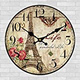 Retro French Eiffel Tower Paris France 12″ Wall Clock Shabby Chic For Sale
