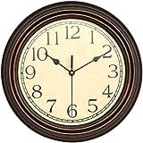 """WINOMO 12"""" クオーツ時計 掛け時計 連続秒針 見やすい 凸文字 茶"""