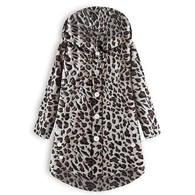 Linlink Abrigo de Mujer BotóN De Estampado Leopardo El BotóN ...