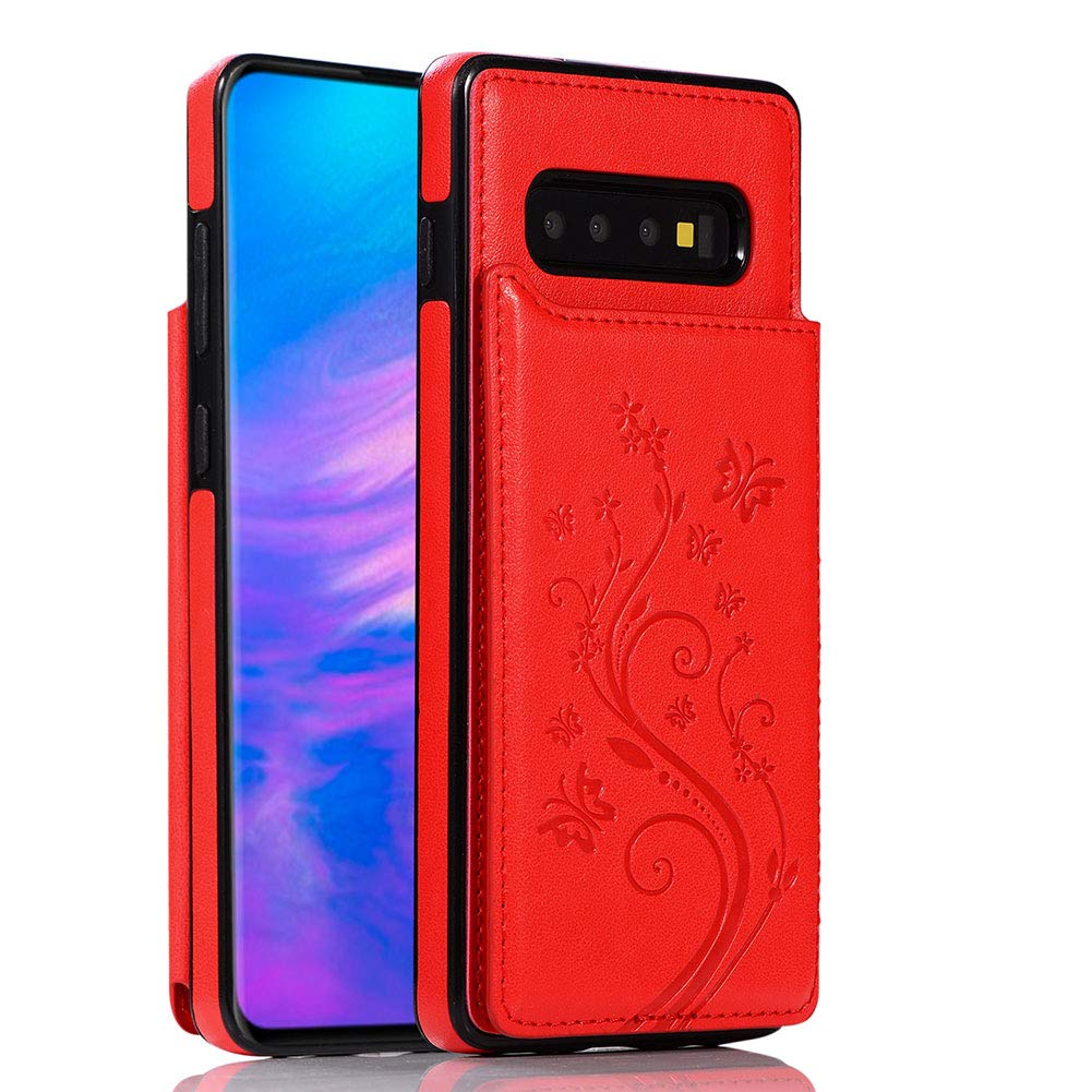 WIWJ Compatible with Samsung Galaxy S10+ Plus Phone Case Embossed Butterfly Double Buckle Leather Case Flip Folio Cover Kickstand with Card Holder Wallet Case for Samsung Galaxy S10+ Plus-Purple