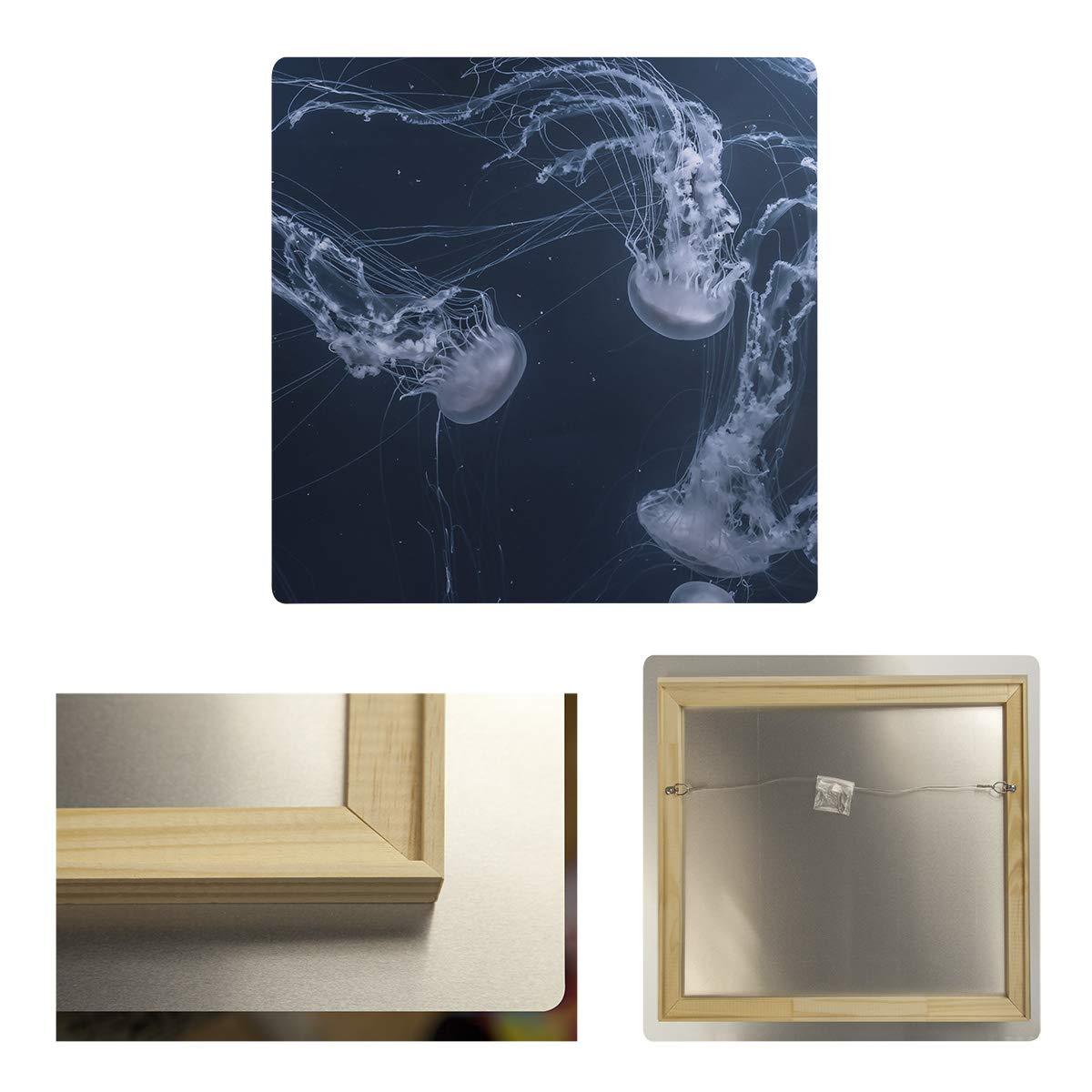 ArtVerse SMI008-MA3232 Joel Smith Jellyfish Tank Metal Print 32 x 32 Blue