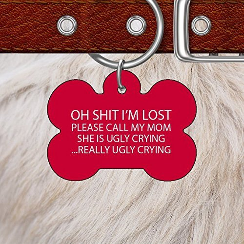 Pet Cute Tag | Oh Shit I'm Lost | Funny ID Tag | Bone Pet Tag | Gift for Your Pet | Necklace for Dog Cat Bird Horse | Identification Tag by Mia Rita