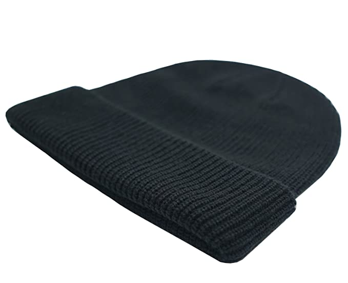 001616f658c Amazon.com  Connectyle Classic Men  s Warm Winter Hats Thick Knit Cuff  Beanie Cap Daily Beanie Hat Black
