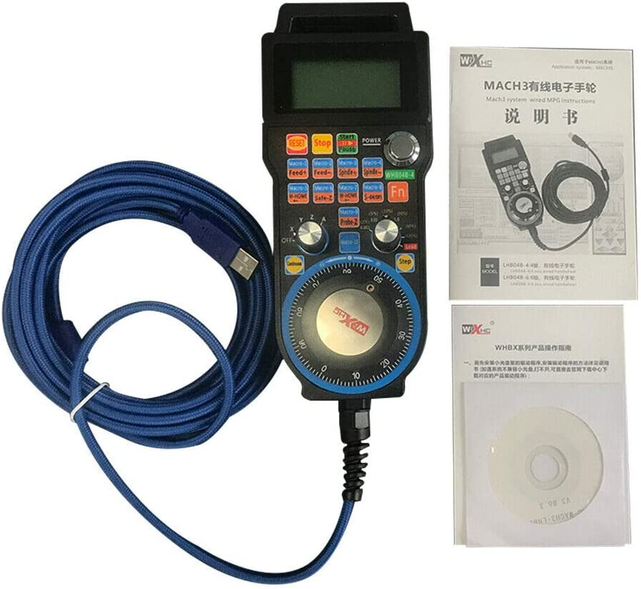 Enlux CNC Mach3 Volant 4 axes Filaires USB MPG Contr/ôleur /Électronique Manuel 5 m