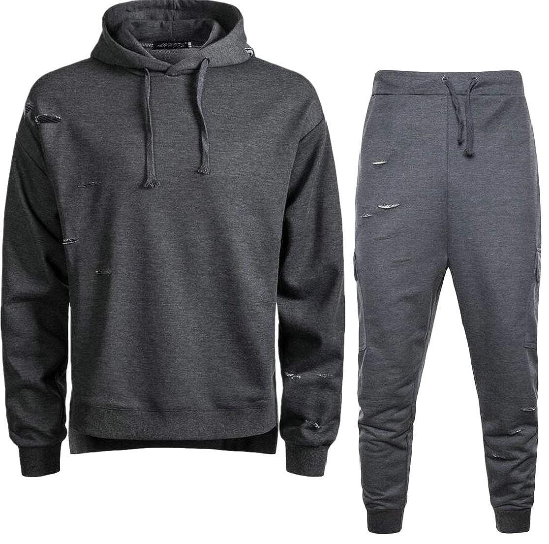 M/&S/&W Mens Athletic Ripped Hoodies Gym Jogger Pants Tracksuits Sweatsuit 2PCS Set