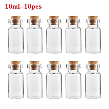 10x Blank Tiny Small Transparent  Message Bottles Vials glass bottle with cork
