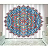LB Colorful Floral Lotus Mandala Background Art Window Curtain by, Abstract Boho Geometric Design Curtain, House Decor Curtain for Living Room Bedroom, 80x84 Inches (2 Panels Size)