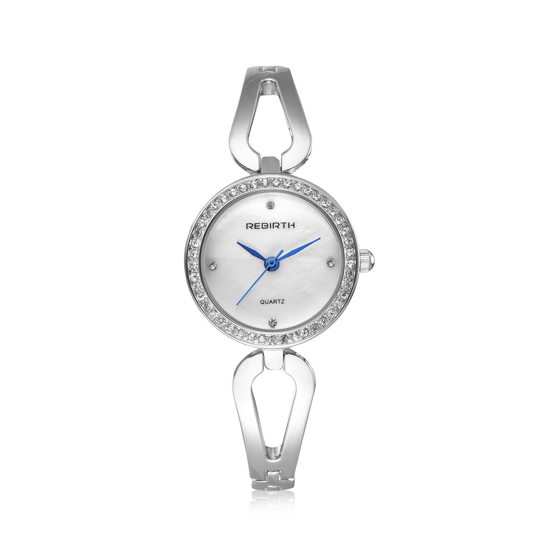 Bosymart Women s Crystal Analog Quartz Dress Watch Silver Black Gold Rose Gold Hollow Bracelet Watch