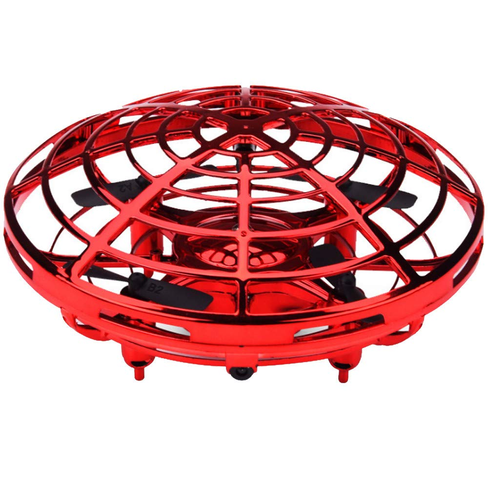 EnjoCho❤️❤️Full Cover 3D Rolling Induction Drone Quadcopter Toy RTF Headless Mode Hover Funny Indoor Aircraft (Red)