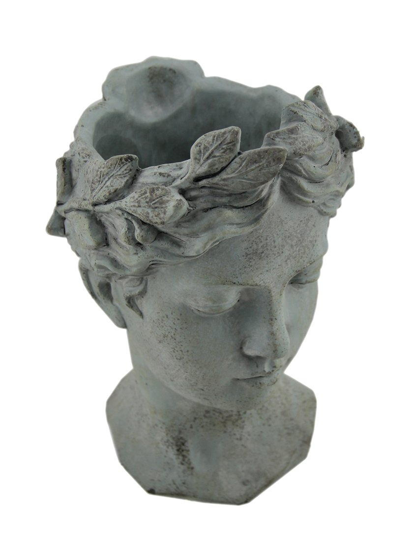 Cement Planters Distressed Grey Classic Greek Grey Lady Head Indoor/Outdoor Cement Planter 7.25 X 10.5 X 6.75 Inches Gray