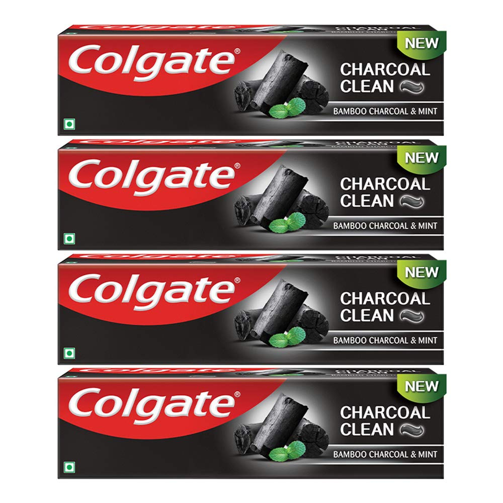 Colgate Charcoal Clean Toothpaste, Black Gel Paste, Bamboo Charcoal and Wintergreen Mint for Clean Mouth, 480g, 120g X 4