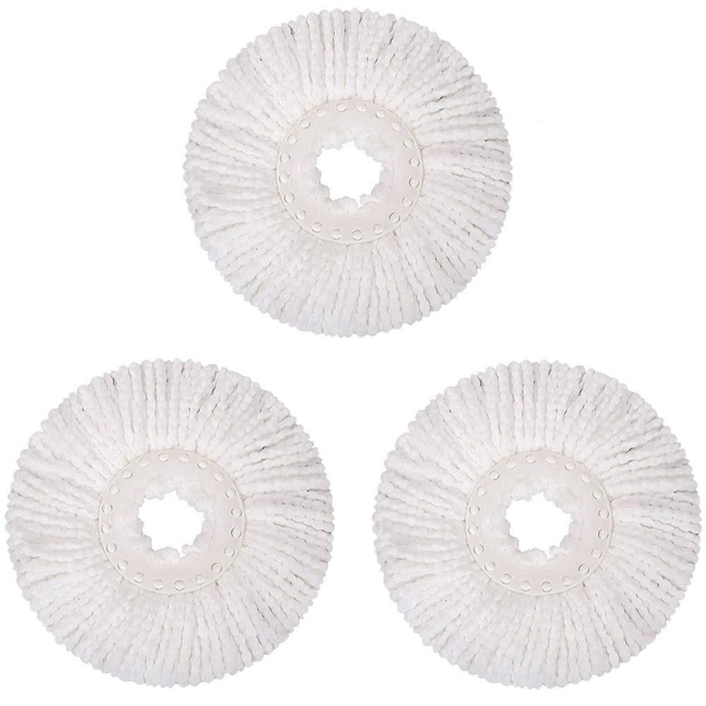 3 Replacement Mop Micro Head Refill Hurricane for 360° Spin Magic Mop-Microfiber Replacement Mop Head-Round Shape Standard Size (3 Pack-White) SSGP SSGP Multicolour-3 Pack