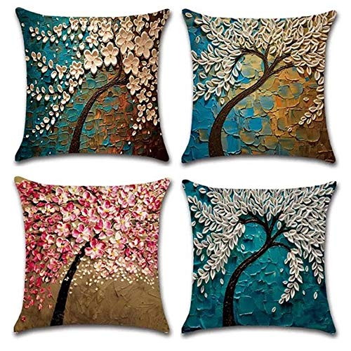 - JOJUSIS Oil Painting Colorful Tree Throw Pillow Covers Cotton Linen Home Decor 18 x 18 inch Set of 4
