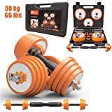 Belvery ALL In one Adjustable Weights Dumbbells and Barbell Set 30 Kg (66 lbs) Solid Pure Steel With Protective Carrying…