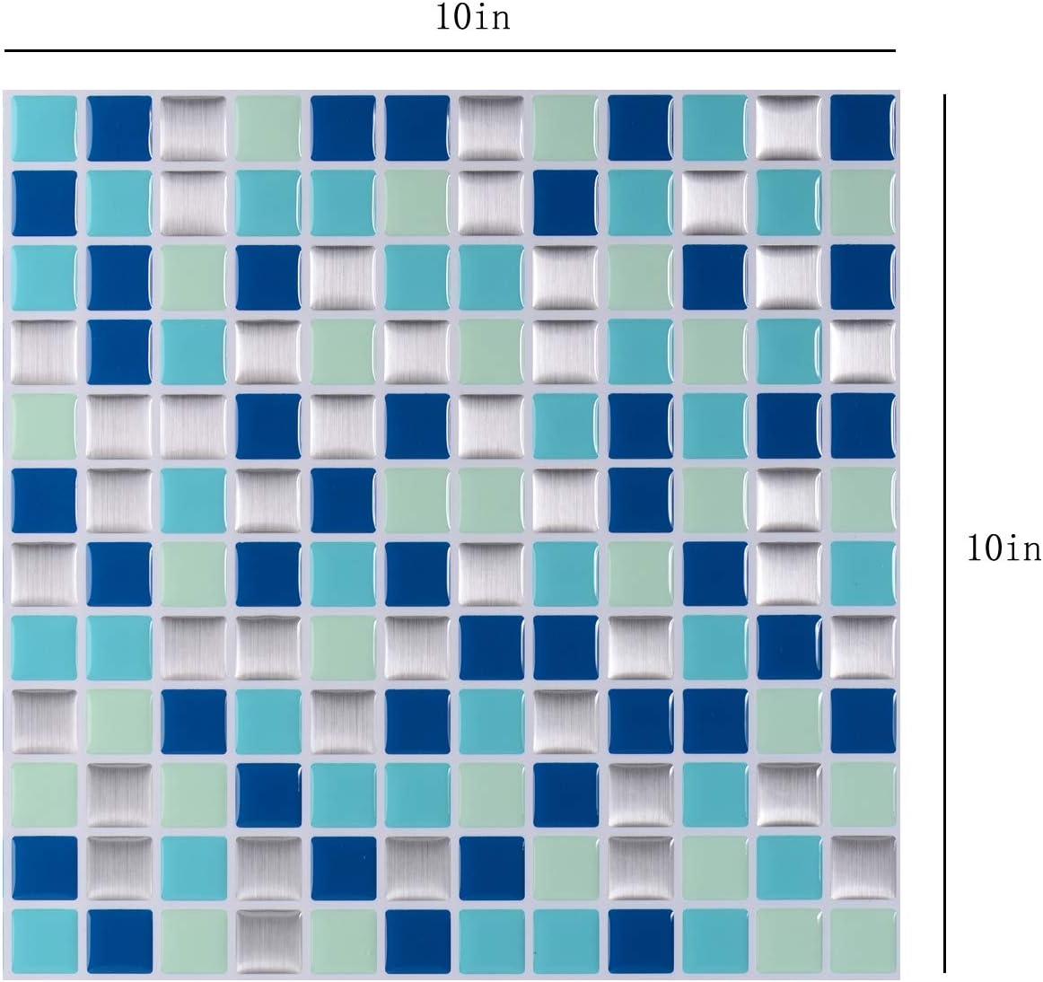 4 Sheets Self Adhesive Tile Stickers 10x 10 nanly Peel and Stick Tile Backsplash for Kitchen//Bath Black and White Mosaic Stick on Tiles Splashback