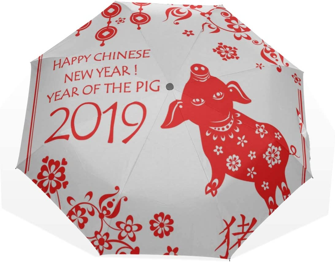 outside Printing Windproof Rain Sun Protection Umbrellas For Women Girls Kids Travel Umbrella Chinese Golden Pig And Text 2019 Anti Uv Compact 3 Fold Art Lightweight Foldable Umbrellas