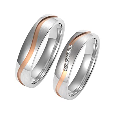 Amtier Stainless Steel Couple Wedding Engagement Rings 5MM for Men