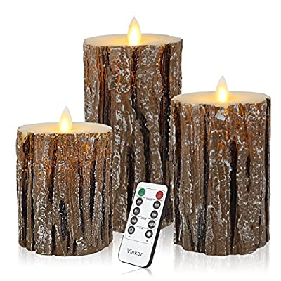 Vinkor Flameless Candles LED Candles Flickering Flameless Candles Bark Effect Moving Set of 3 Battery Candles Real Wax Pillar with 10-key Remote Control - 2/4/6/8 Hours Timer